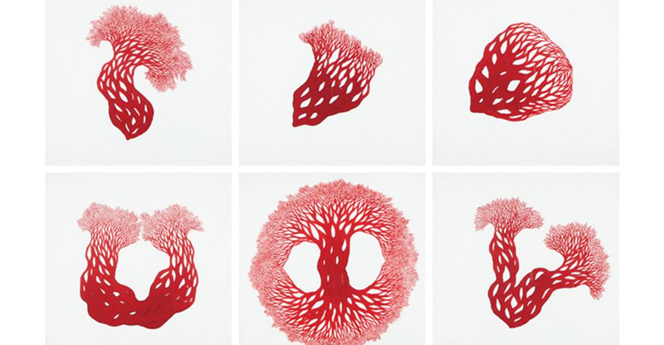 피의 흐름(Blood Flow), 2011, ink on paper, 50 × 52 cm each