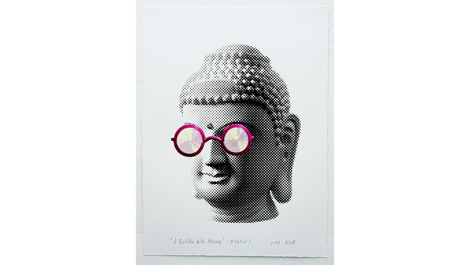 A Buddha with Glasses, 2008, sequins and silkscreen on paper, 76 x 56 cm