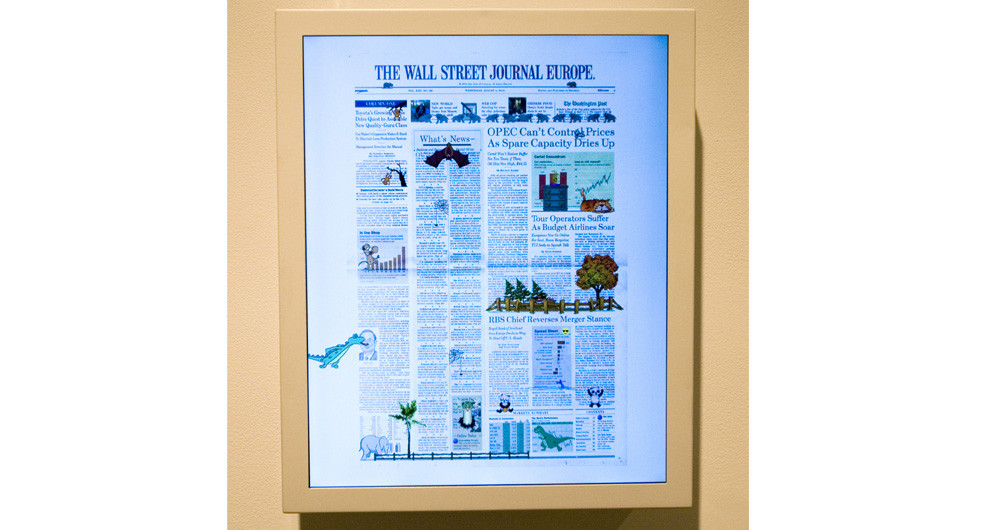 Olia Lialina & Dragan Espenchied, Online Newspapers (Wall Street Journal, Europe), 2004, HTML file, hard drive, monitor, 13.5 x 16.5 x 3, edition of 4