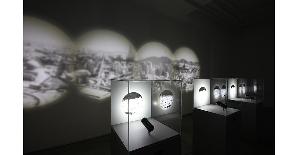 Cities_ Baghdad, Pyongyang, Seoul, Fukushima, 2014, show cases, pedestals, LED lighting, 113x45x45cm each