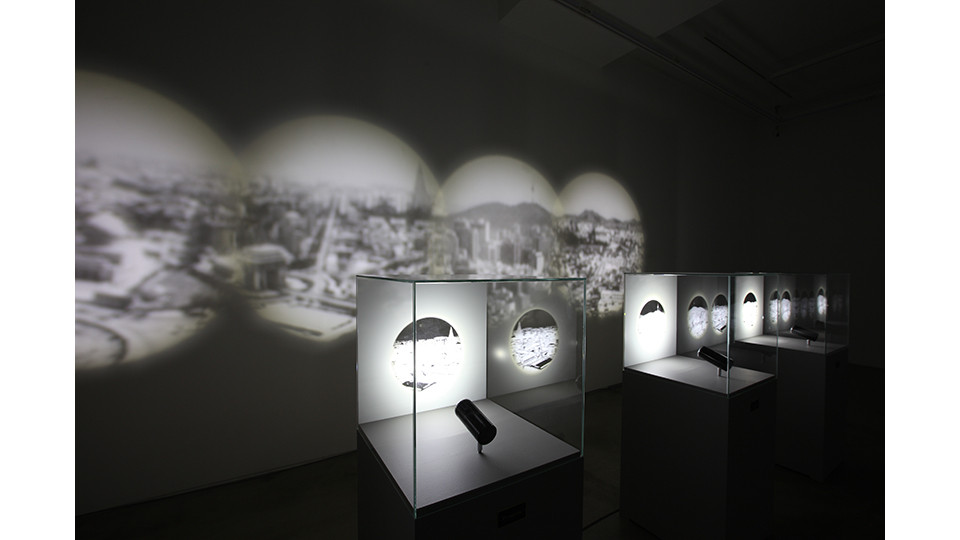 Cities_ Baghdad, Pyongyang, Seoul, Fukushima, 2014, show cases, pedestals, LED lighting, 113x45x45cm each