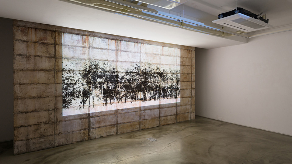 Visual Kinematics a state of art (No. 10), 2014, video projection on cement wall, installation view