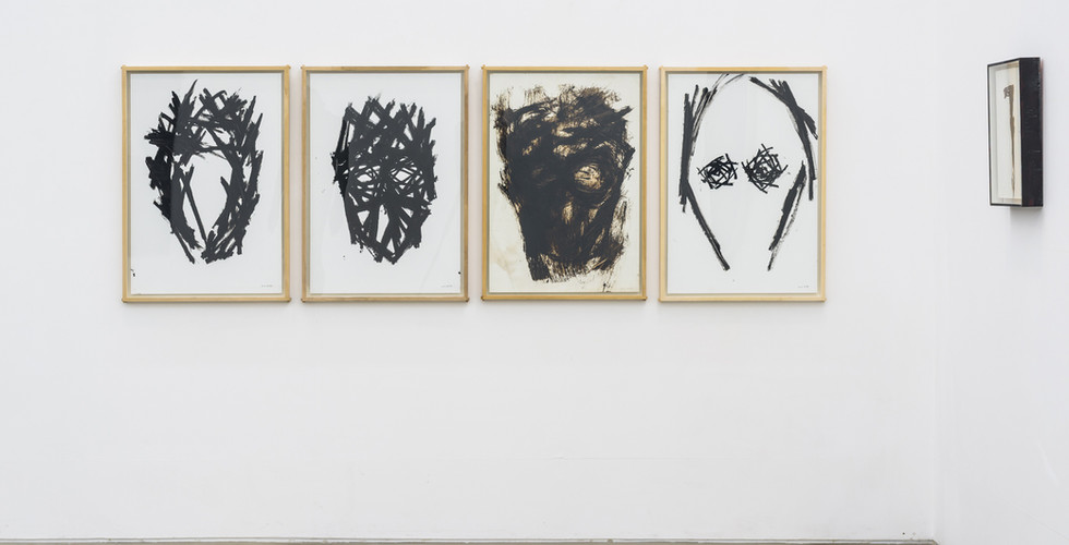 Chung Hyun, Drawing, 2014, 2014, 2009, 2014, 1997, coal tar, oil bar (left to right)