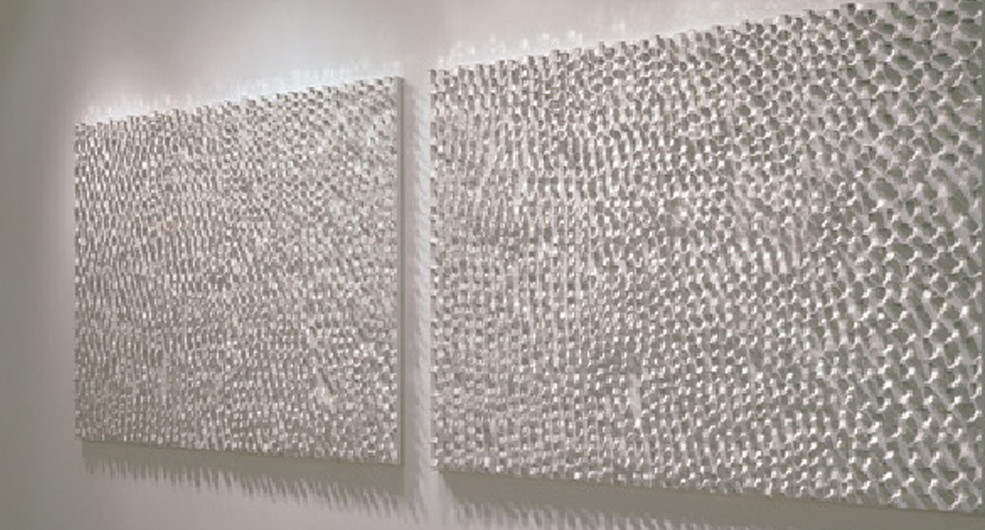 Eventide-River-Light, 2006, stainless steel on canvas, 200 x 140 cm