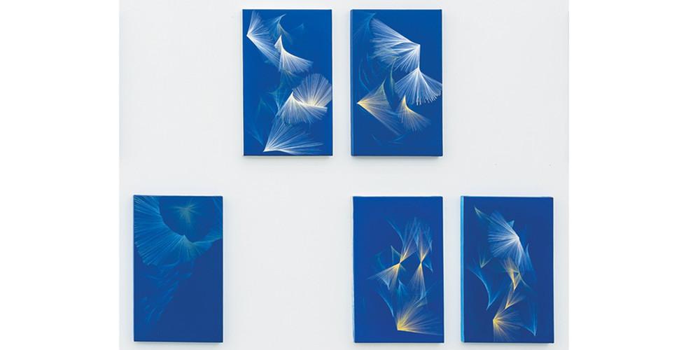 Jinnie Seo, Wandering Stardust I-XV, 2017, acrylic on canvas, 50x30cm (each)