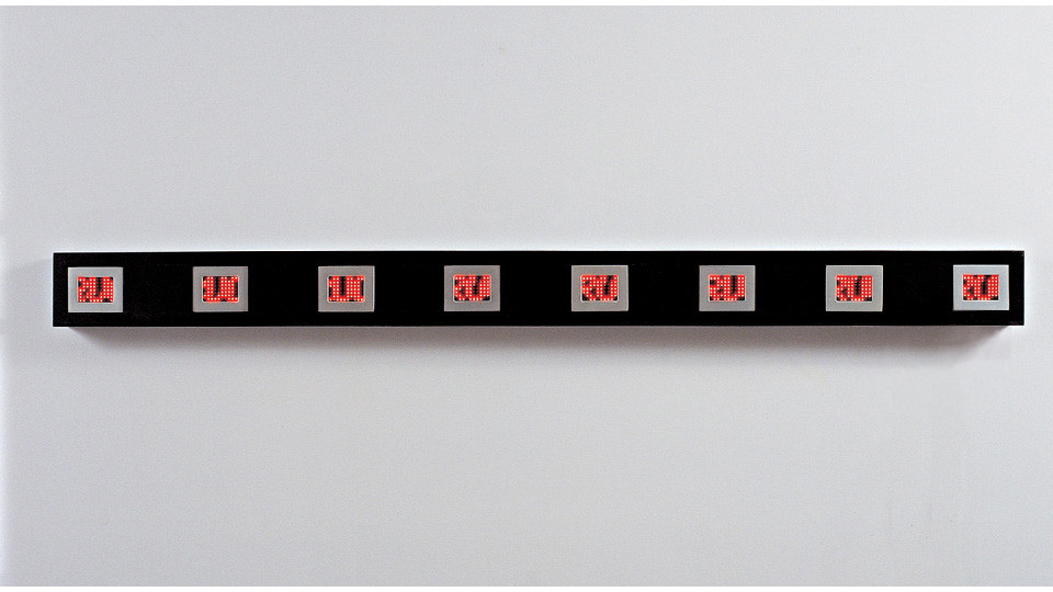 Jenny Holzer, Pink Truism 1977-79, 2004, mini LED sign with red and white diodes, rushed clear anodized aluminum housing, 212 x 16 x 10.5 cm
