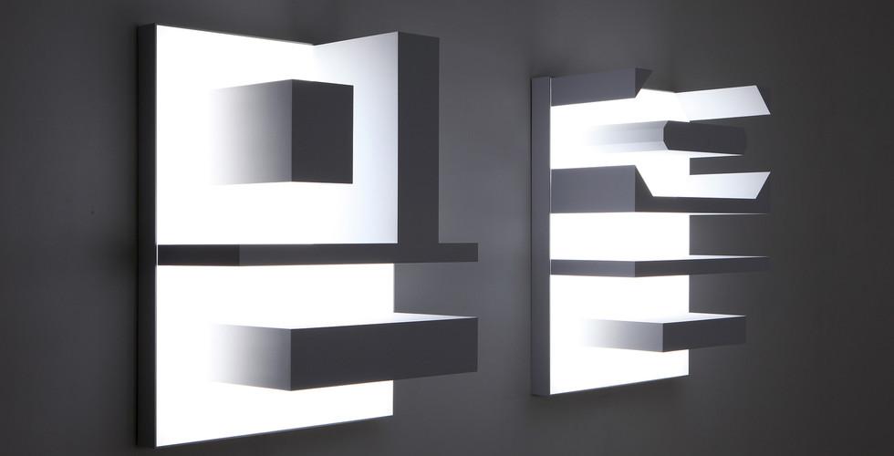 """""""믿음"""" """"Belief"""" 2015, ABS, LED, 75 x 99(h) x 39.5cm each"""
