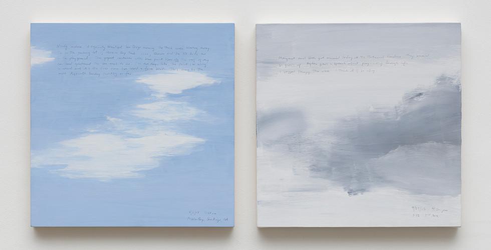 Byron Kim, Sunday Painting, 2006, acrylic, pen on canvas (diptych), 35.6x35.6cm each