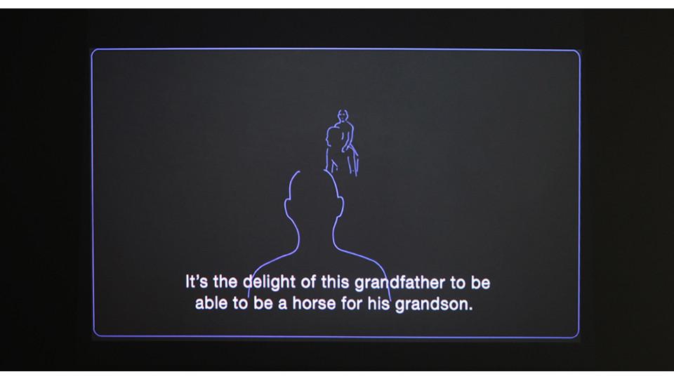 Sowon Kwon, piggyback(jihoo and Harabuji), 2012, video animation, media player, projector, dimensions variable