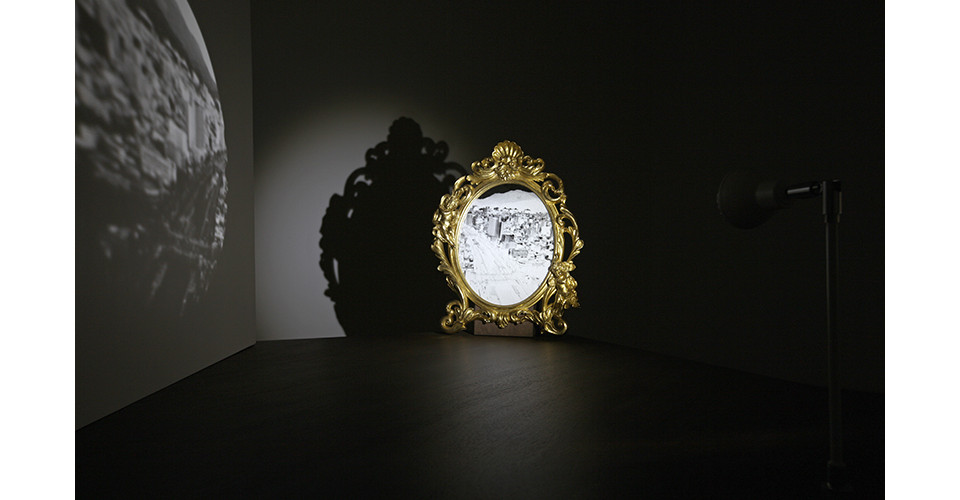 Angel of the Mirror, 2014, wooden panel, mirror with golden frame, LED lighting, metal frame, 75x122x117cm