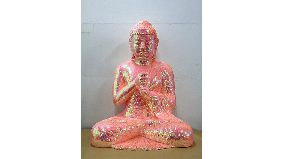 Noh, Sang-Kyoon, For the Worshipers #71104, 2007, sequins on the Buddha Statue of polyester resin and fiberglass, 110 x 88.5 x 64 cm