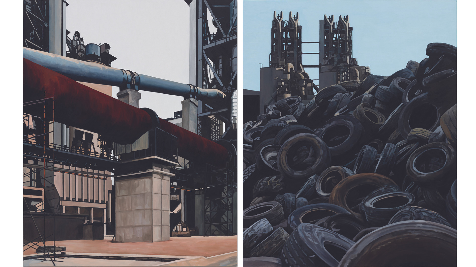 Waste Tire and Kiln 폐타이어와 소성로 (Diptych), 2016, oil on canvas, 227.3x181.8cm each