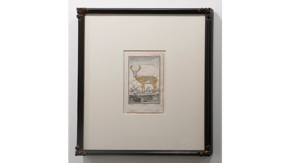 Le Daim, 2012, tinsel on antique print, glass, gilded frame, 39 x 34 cm