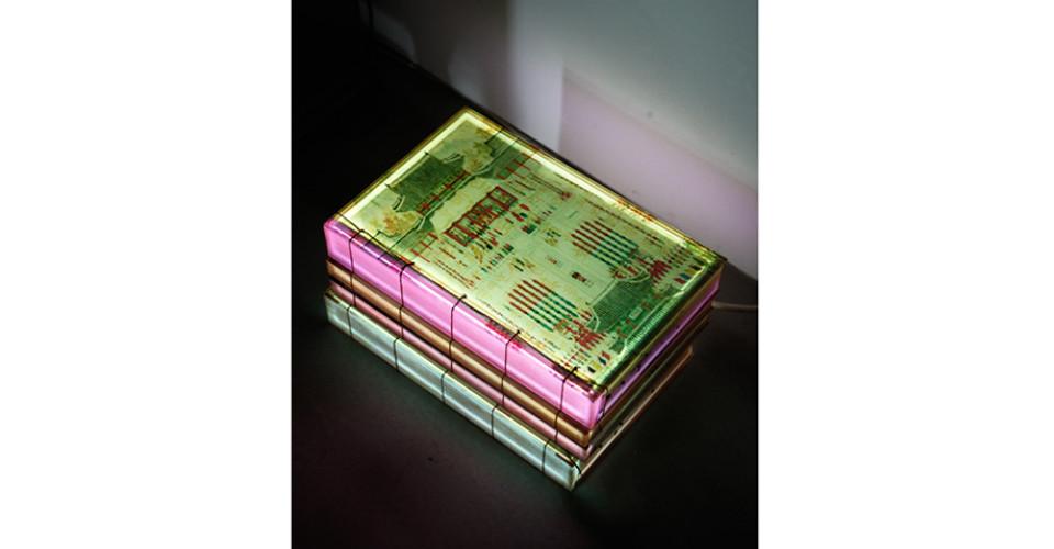 Lighting Book - Oriental version, Saimdang's book, 2014, LED lighting, plastic box, 23 x 35.5 x 19 cm