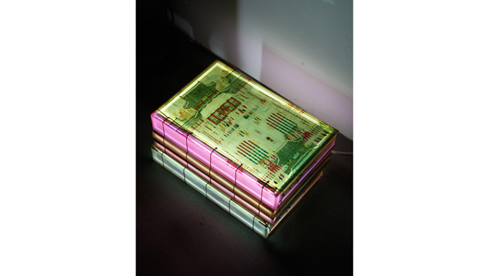 Lighting Book - Oriental version, Saimdang's book, 2014, LED lighting, plastic box, 23 x 35.5 x 19 cm