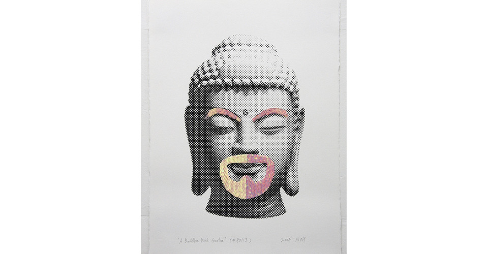A Buddha With Goatee, 2008, sequins and silkscreen on paper, 76 x 56 cm