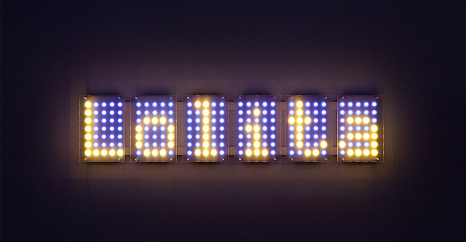 Ben Rubin, Lolita 6, 2009, Color LEDs, acrylic, 56 x 8 12 inches