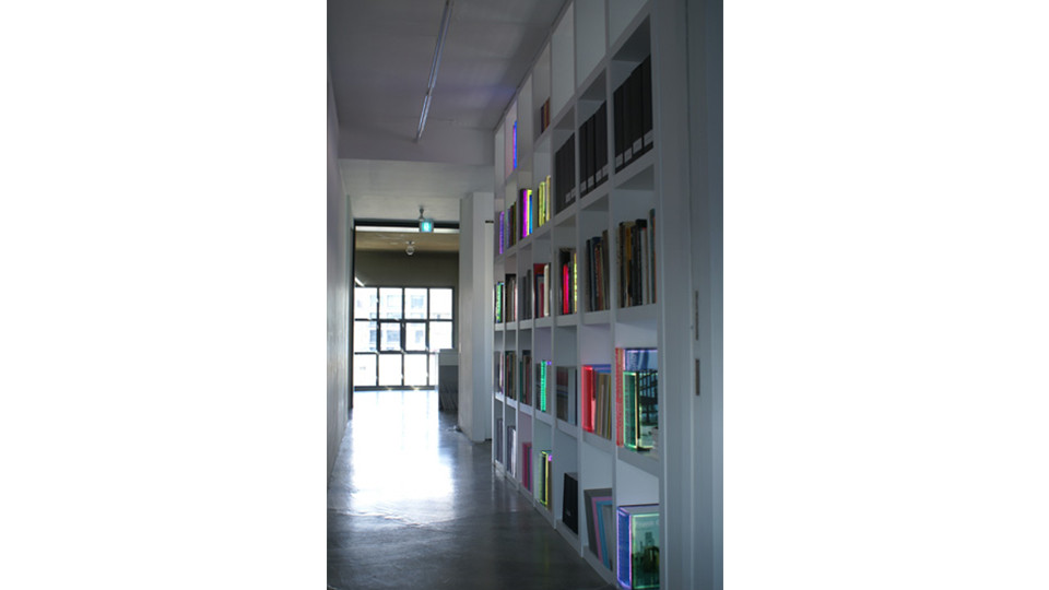 Installation view of Lighitng books at Gallery Simon