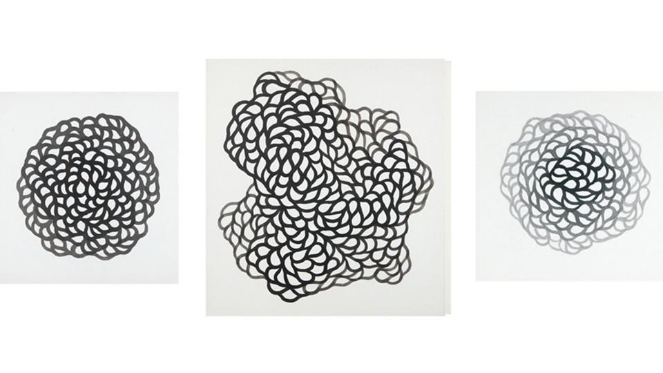 '기억의 노선'을 위한 드로잉(Drawing for 'Circuit of Memory'), 2010, korean ink on paper, 55 x 55 cm, 79 x 79 cm, 35 x 35 cm