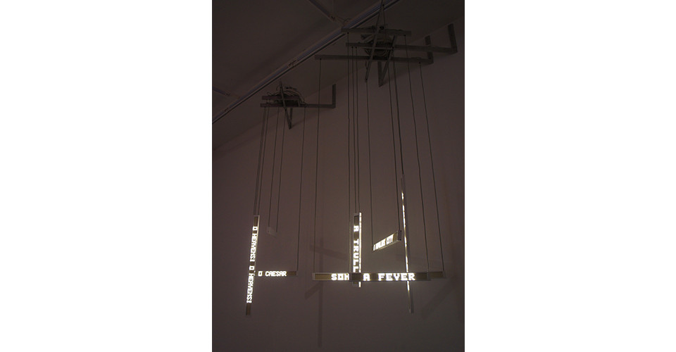 Ben Rubin, Shakespeare Machine Study No. 2 and No.4, 2009, white LEDs, aluminum and electronics, 26 x 30 x 82 inches (No.2), 32 x 42 x 82 inches (No.4)