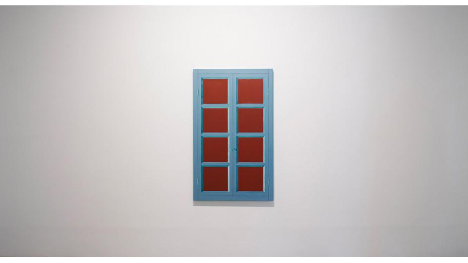 Window (after Marcel Duchamp), 2010, oil color, digital image on canvas, 132 x 80 x 4.5 cm