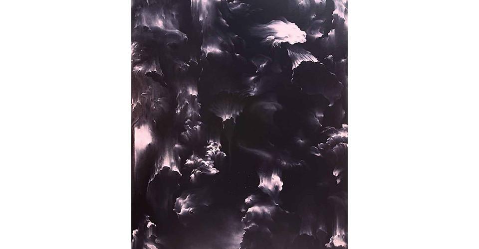 Secret Garden #265_black, light pink, 2011, acrylics, oil stick on canvas, 131 × 162 cm