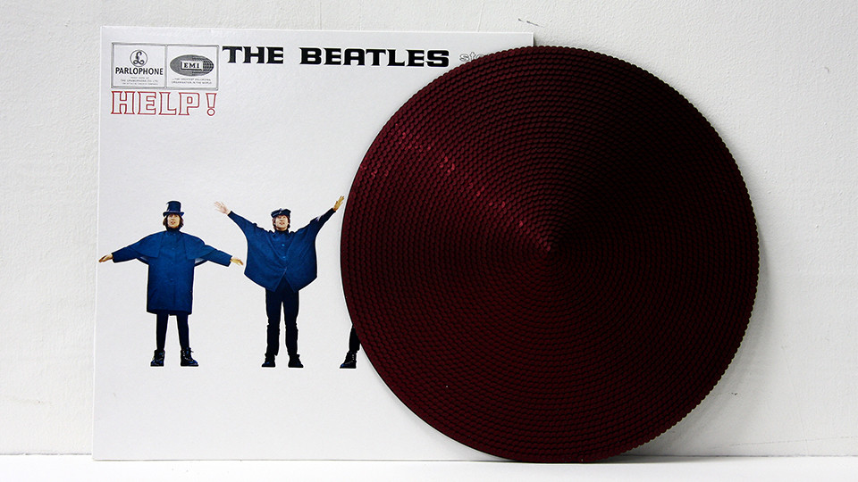 Recording - The Beatles, 2009, jacket and sequins on disk, 31 x 31 cm, Φ31 cm