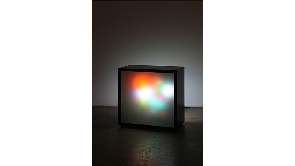 Supernova, 2014, plastic objects, MDF, LED lighting, frosted glass, 65x65x37cm