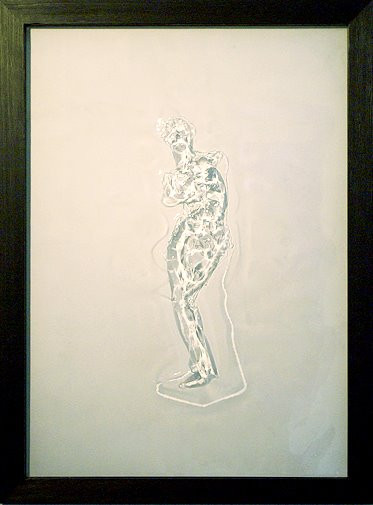 Drawing the Beauty, 2012, pressed line drawing on transparent polycarbonate, Epoxy, 55 x 77 cm