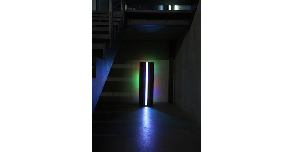 LUX-FLEX Enclosure, 2014, plastic objects, MDF, veneer, LED lighting, 126.5x42x40cm