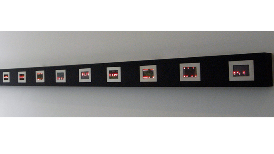Mini Matrix, Text Selections from Truisms, 1977-79, 2004, 9 mini LED signs, 10.1 x 12.7 x 3.8 cm each