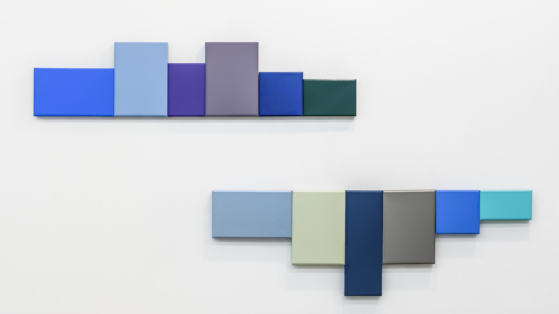 Chiaksan, 2016, acrylic on canvas, 182 x 42 x 5 cm (above), 182 x 60 x 5 cm (bottom)