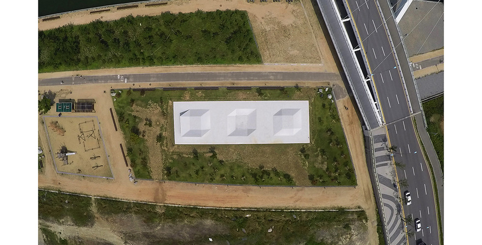 Three Cubes, 2015, white cement, 4500 x 1500 x 200cm, SongDo Central Park