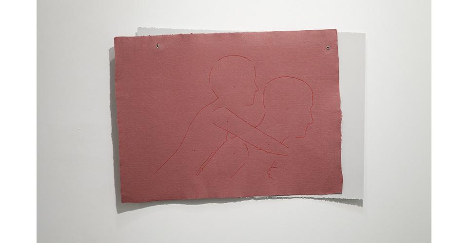 piggyback (Jina and Gangchil), 2012, embroidery floss, 2 sheets rag paper (56 x 75 cm-burgundy; 56 x 76 cm-paper), grommets, 58.5 x 84.5 cm
