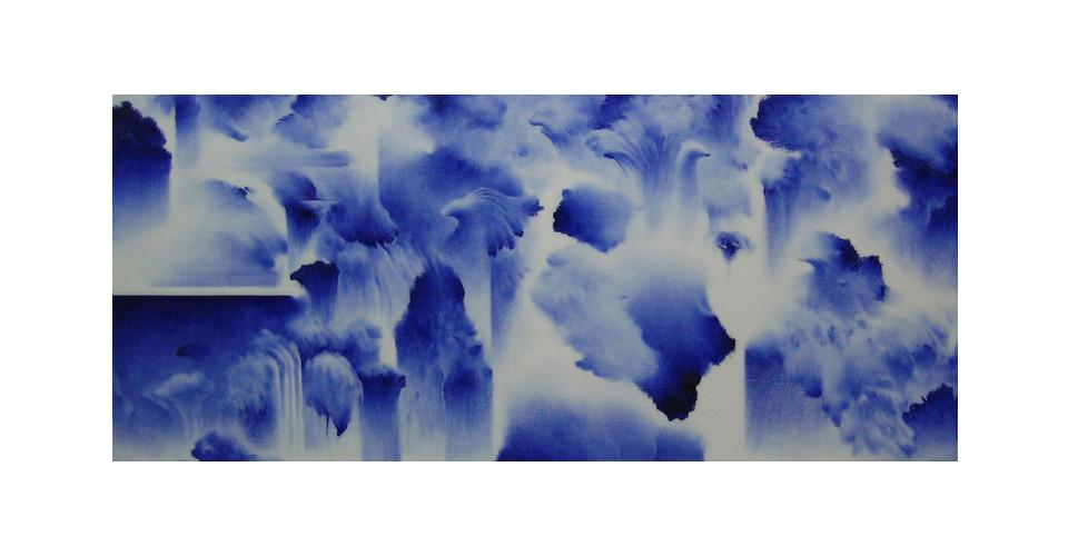 Moon, Beom, Slow, Same #60291, 2003, acrylics, oilstick on panel, 160 x 70 x 7 cm