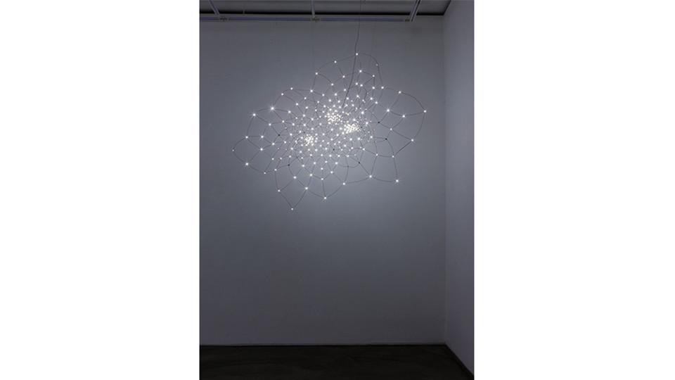 뒤틀림-3토러스 , 2014, Copper Wire+LED, 200 x 70 x 165(h) cm