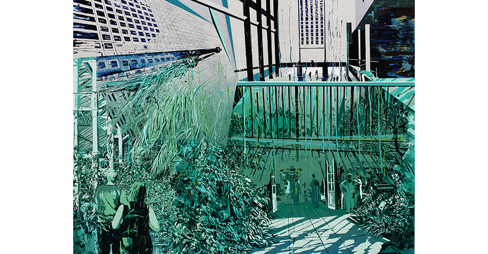 Kang, Yoo-Jin, Garden into the TATE, 2007, enamel and acrylic on canvas, 162 x 130 cm