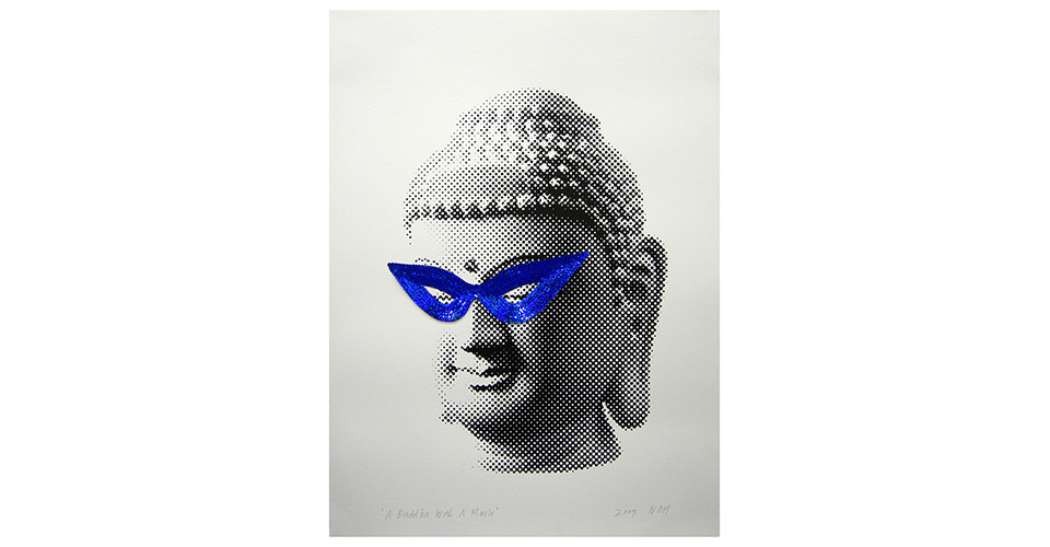 Noh, Sang-Kyoon, A Buddha with a Mask, 2007, sequins and silkscreen on paper, 56 x 76 cm
