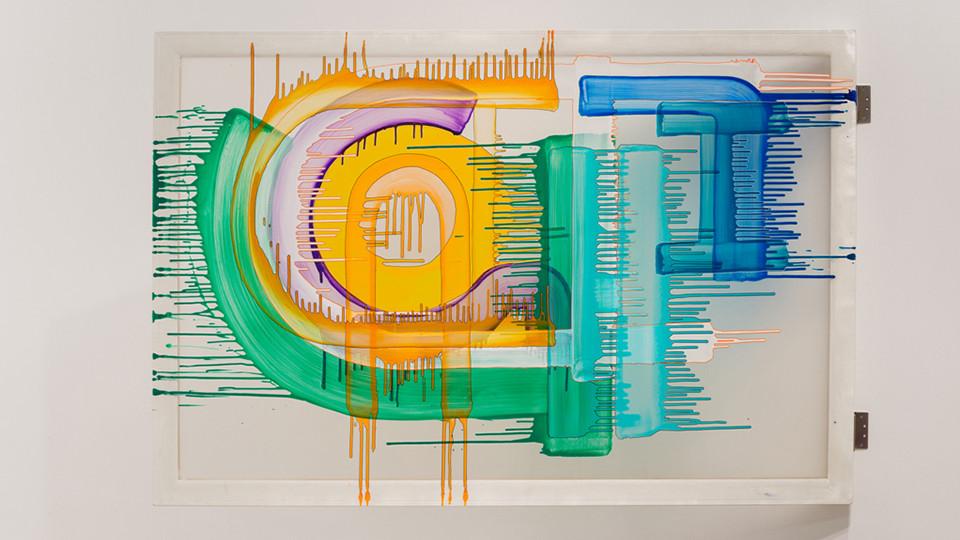 AAAGHHJLO, 2014, acrylic, painting marker on chiffon, 193.9 x 130.3 cm