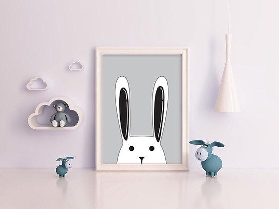 ארנב מאוייר על רקע אפור