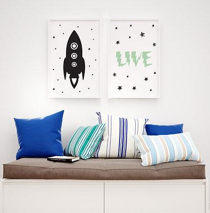 LIVE סט - פוסטר חללית וכוכבים