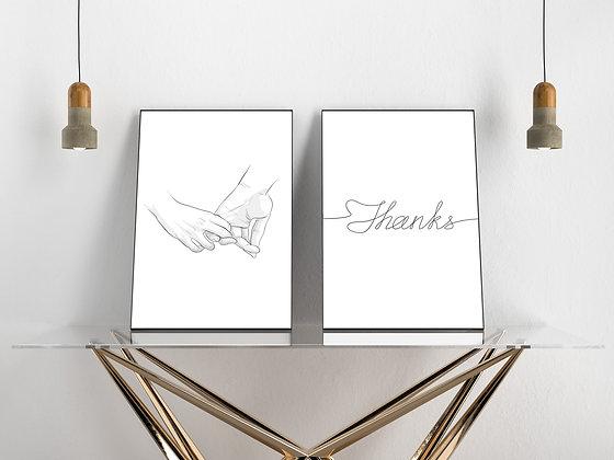 סט זוגי -holding hands&Thanks