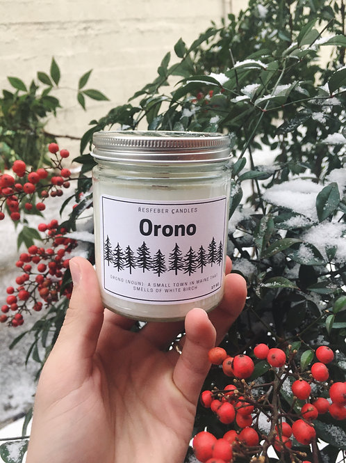Orono Crackling Wick Candle Handmade - 9 oz White Birch Scented