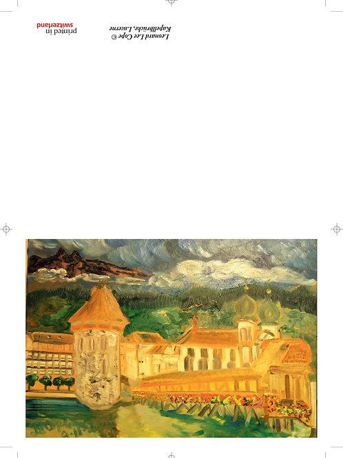 Kappelbrücke im Sonnenlicht Postkarte