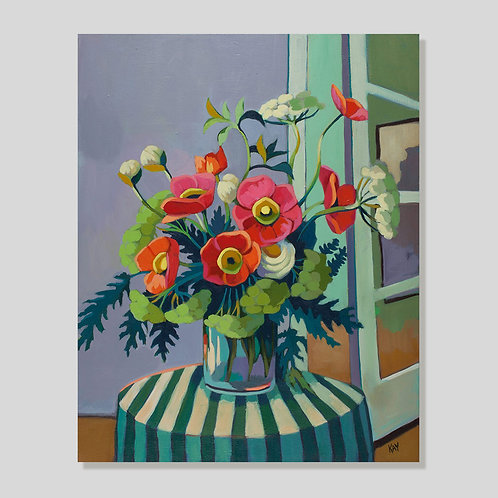 Print: Flowers on striped table