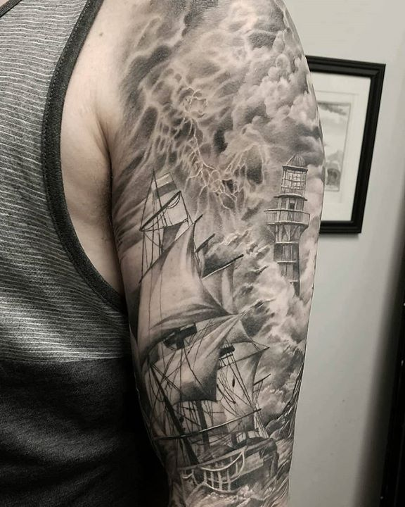 Fully healed, custom half-sleeve