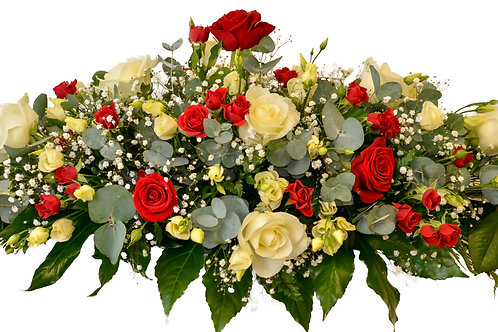 RED AND CREAM ROSES CASKET SPRAY
