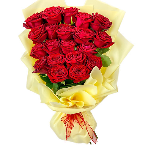 20 PREMIUM RED ROSES HAND TIED