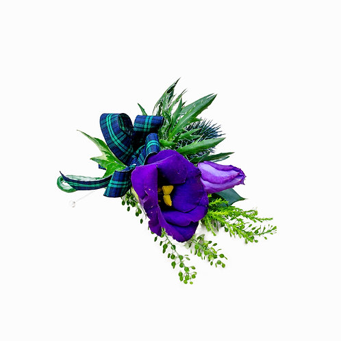THISTLE AND LISIANTHUS BUTTONHOLE