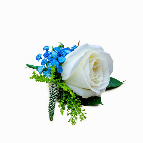 BLUE AND WHITE PASSION BOUTONNIERE